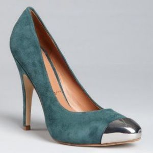 "SIGERSON MORRISON Metal Toe ""Mona Lisa"" Teal Pumps"
